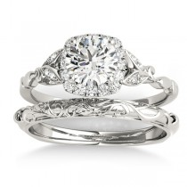 Diamond Antique Style Butterfly Bridal Set 18k White Gold (0.14ct)
