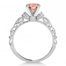 Morganite & Diamond Antique Style Engagement Ring 14k White Gold (1.62ct)