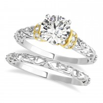 Diamond Antique Style Bridal Set 18k Two-Tone Gold (1.12ct)