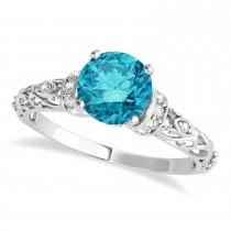 Blue Diamond & Diamond Antique Style Bridal Set 14k White Gold (1.62ct)