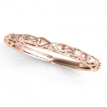 Antique Style Open Scrollwork Wedding Band 18k Rose Gold