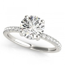 Diamond Solitaire Engagement Ring w Accents Platinum 1.26ct