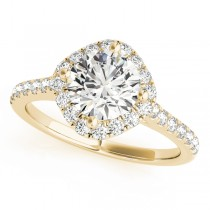 Diamond East West Halo Engagement Ring 18k Yellow Gold (0.96ct)