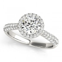 Diamond Halo Sidestone Accented Engagement Ring 14k White Gold (1.08ct)