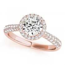 Diamond Halo Sidestone Accented Engagement Ring 18k Rose Gold (1.08ct)
