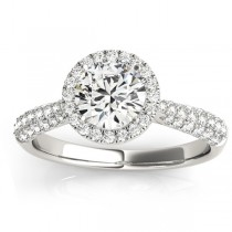 Diamond Halo Pave Sidestone Accented Engagement Ring 18k White Gold (0.33ct)