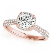 Round-Cut Square Halo Pave' Diamond Engagement Ring 18k Rose Gold (2.33ct)
