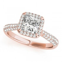 Princess-Cut Halo pave' Diamond Engagement Ring 18k Rose Gold (2.33ct)
