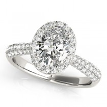 Oval-Cut Halo pave' Diamond Engagement Ring Platinum (2.33ct)