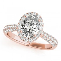 Oval-Cut Halo Pave Diamond Engagement Ring 14k Rose Gold (1.32ct)