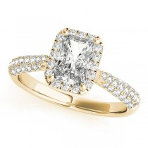 Emerald-Cut Halo pave' Diamond Engagement Ring 14k Yellow Gold (2.38ct)