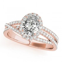 Oval-Cut Halo Triple Row Diamond Engagement Ring 14k Rose Gold (1.38ct)