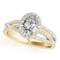Oval-Cut Halo Triple Row Diamond Engagement Ring 18k Yellow Gold (1.38ct)