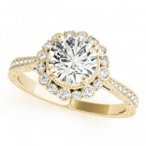Diamond Flower Halo Vintage Engagement Ring 14k Yellow Gold (1.11ct)