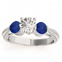 Diamond & Blue Sapphire Engagement Ring Setting 18k White Gold (0.66ct)