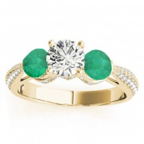 Diamond & Emerald 3 Stone Engagement Ring Setting 14k Yellow Gold (0.66ct)