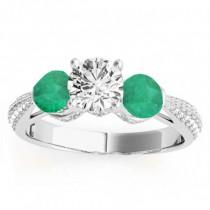 Diamond & Emerald 3 Stone Engagement Ring Setting Platinum (0.66ct)