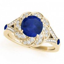 Diamond & Blue Sapphire Floral Engagement Ring 14k Yellow Gold (1.25ct)