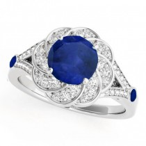 Diamond & Blue Sapphire Floral Engagement Ring Palladium (1.25ct)
