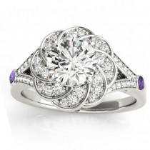 Diamond & Amethyst Floral Engagement Ring Setting 18k White Gold (0.25ct)