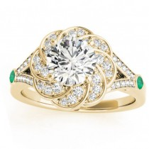 Diamond & Emerald Floral Engagement Ring Setting 14k Yellow Gold (0.25ct)