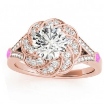 Diamond & Pink Sapphire Floral Engagement Ring Setting 14k Rose Gold (0.25ct)