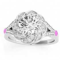 Diamond & Pink Sapphire Floral Engagement Ring Setting 18k White Gold (0.25ct)