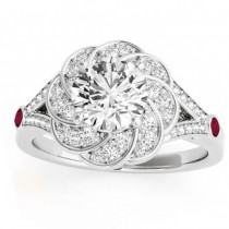Diamond & Ruby Floral Engagement Ring Setting 14k White Gold (0.25ct)