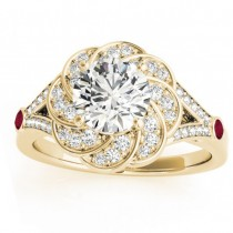 Diamond & Ruby Floral Engagement Ring Setting 14k Yellow Gold (0.25ct)