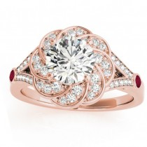 Diamond & Ruby Floral Engagement Ring Setting 18k Rose Gold (0.25ct)
