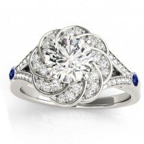 Diamond & Tanzanite Floral Engagement Ring Setting 18k White Gold (0.25ct)