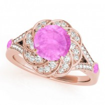 Diamond & Pink Sapphire Floral Engagement Ring 14k Rose Gold (1.25ct)