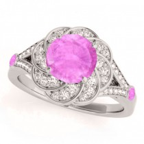 Diamond & Pink Sapphire Floral Engagement Ring 14k White Gold (1.25ct)