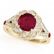 Diamond & Ruby Floral Swirl Engagement Ring 14k Yellow Gold (1.25ct)