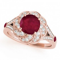 Diamond & Ruby Floral Swirl Engagement Ring 18k Rose Gold (1.25ct)