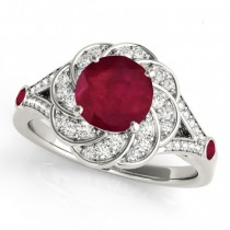 Diamond & Ruby Floral Swirl Engagement Ring 18k White Gold (1.25ct)