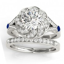 Diamond & Blue Sapphire Floral Bridal Set Setting 14k White Gold (0.35ct)