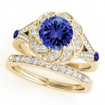 Diamond & Tanzanite Floral Swirl Bridal Set 18k Yellow Gold (1.35ct)