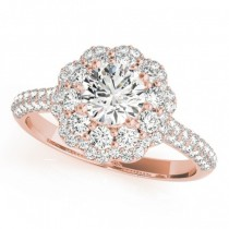 Diamond Floral Style Halo Engagement Ring 14k Rose Gold (1.54ct)