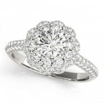 Diamond Floral Style Halo Engagement Ring 18k White Gold (1.54ct)