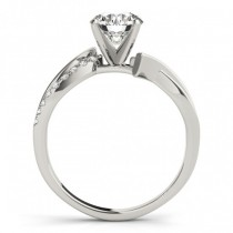Diamond Twist Bypass Engagement Ring Setting 14k White Gold (0.09ct)