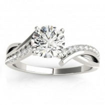 Diamond Twist Bypass Engagement Ring Setting 18k White Gold (0.09ct)