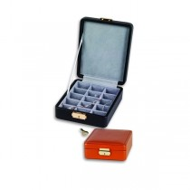 Pebble Grained Leather Ring or Earring Jewelry Box w/ 15 Compartments