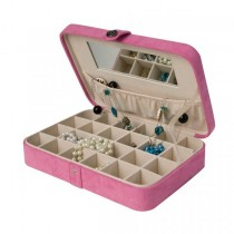Pink Jewelry Box & Ring Case, 24 Sections, Hand Lined, Home or Travel
