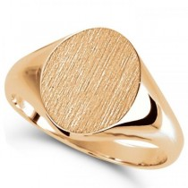 Men's Oval Shaped Engravable Signet Ring 14k Rose Gold 10x8mm