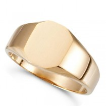 Customizable Signet Ring w/ Octagon Shape Top in 14k Rose Gold 11x9mm