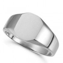 Customizable Signet Ring w/ Octagon Shape Top 14k White Gold 11x9mm