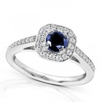 Sapphire and Cushion Diamond Halo Gemstone Ring 14k White Gold 0.88ct