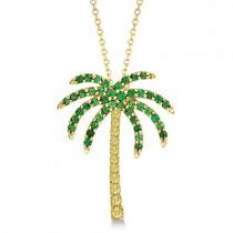 Tsavorite & Yellow Sapphire Palm Tree Necklace 14k Yellow Gold (0.30ct)
