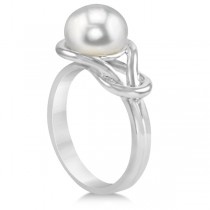 Freshwater Cultured Pearl Love Knot Ring Sterling Silver 9.0-9.5mm